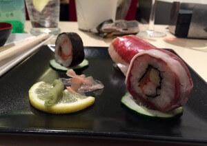 sushi con jamón