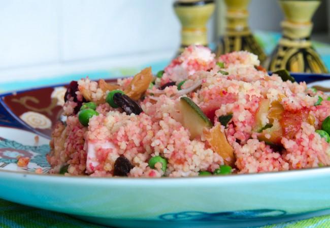 Roze couscous salade