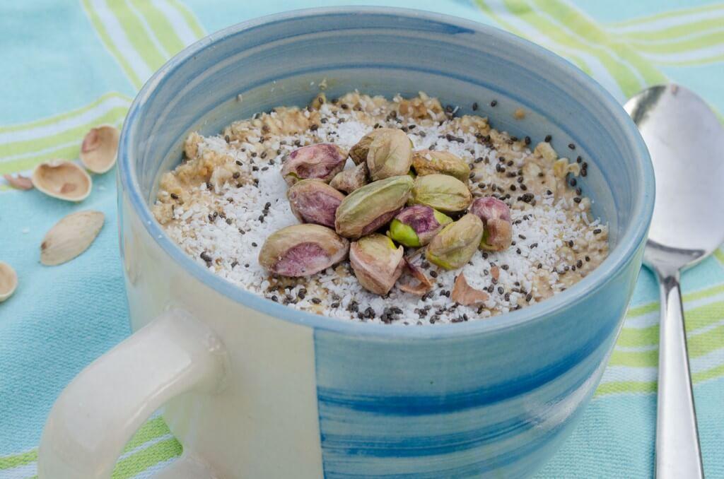 proteine ontbijt, havermout, overnight oats, pindakaas