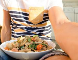 pasta met kip, italiaans, zomer, zon, avondzon